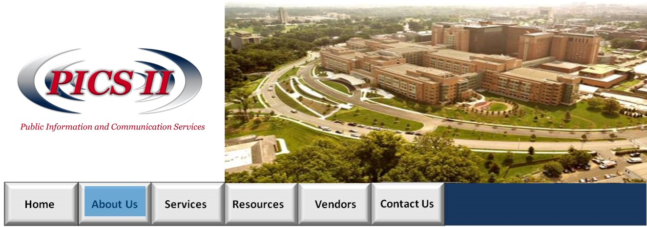 Top Image with PICS II logo and photo of the NIH clinical center